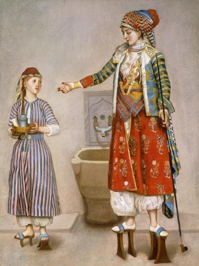 A Woman in Turkish Costume in a Hamam Instructing Her Servant-Jean-Etienne Liotard-Giclee Print