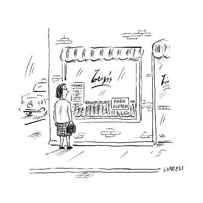 """A woman looks into a restaurant window that has a sign reading """"FREE GLUTE? - New Yorker Cartoon--Premium Giclee Print"""