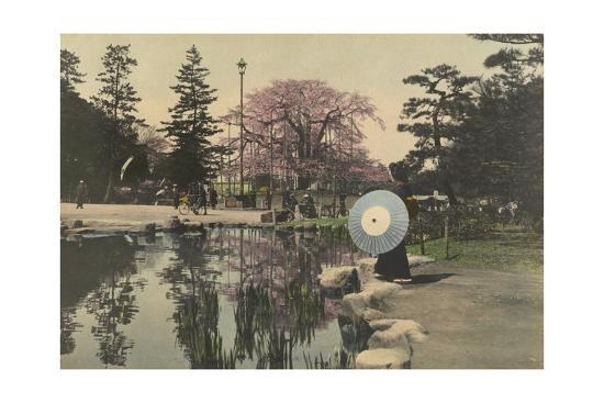 A Woman Observes the Reflection of Cherry Blossoms in a Small Pond-Kiyoshi Sakamoto-Photographic Print