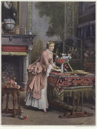 A Woman Placing a Vase of Flowers on a Table-Emile Pierre Metzmacher-Giclee Print