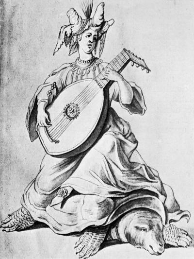 A Woman Playing a Stringed Instrument, Early 17th Century--Giclee Print