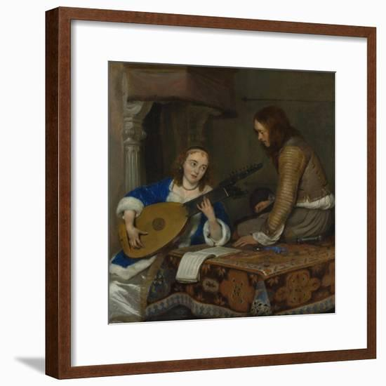 A Woman Playing the Theorbo-Lute and a Cavalier, c.1658-Gerard ter Borch or Terborch-Framed Premium Giclee Print