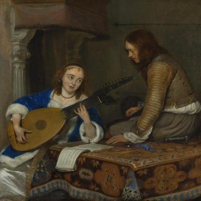 A Woman Playing the Theorbo-Lute and a Cavalier, c.1658-Gerard ter Borch or Terborch-Giclee Print