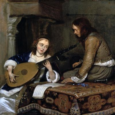 A Woman Playing the Theorbo-Lute and a Cavalier, C1658-Gerard Terborch II-Giclee Print