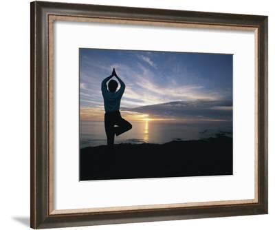 A Woman Practices Yoga on the Beach at Sunset-Roy Toft-Framed Photographic Print