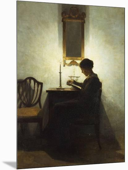 A Woman Reading by Candlelight in an Interior-Peter Ilsted-Mounted Giclee Print