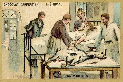 A Woman Receiving a Blood Transfusion from a Goat--Giclee Print
