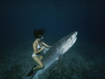 A Woman Rides a Shark-Nick Caloyianis-Photographic Print