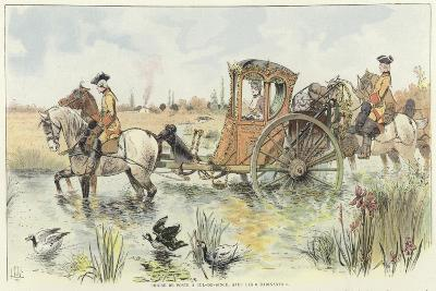 A Woman Riding in a Horse-Drawn Carriage as it Travels Through a River-Louis Vallet-Giclee Print