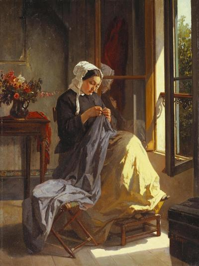 A Woman Sewing by an Open Window-Jules Trayer-Giclee Print
