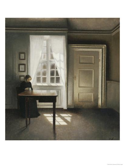 A Woman Sewing in an Interior-Vilhelm Hammershoi-Giclee Print