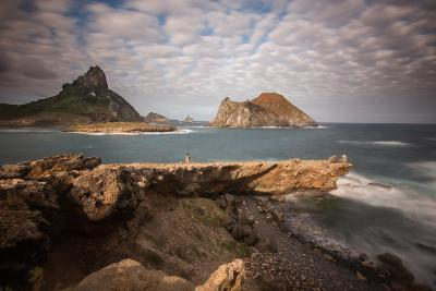 A Woman Stares Out at the Dramatic Landscape of Praia Do Sueste on Fernando De Noronha-Alex Saberi-Photographic Print