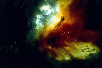 A Woman Swimming in Tannin-Rich Waters Where They Mix with Clear Spring-Fed Waters-David Doubilet-Photographic Print