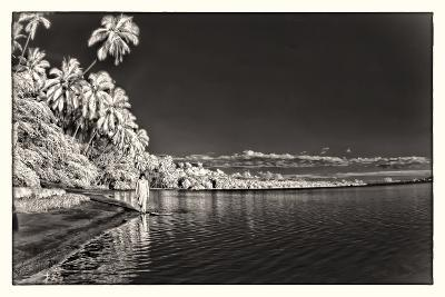 A Woman Walking Along Shoreline in Front of Kapuaiwa Palm Grove, Molokai Island-Richard A. Cooke Iii.-Photographic Print