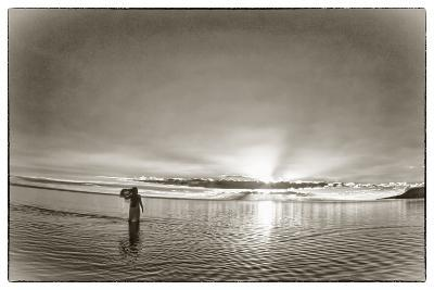 A Woman Walking in Tidal Flats in Front of Molokai South Shore Line-Richard A. Cooke Iii.-Photographic Print