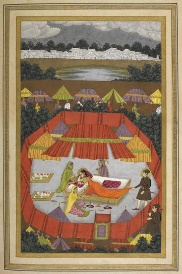 A Woman With Attendants Within an Encampment Of Tents.- Govardhan-Giclee Print