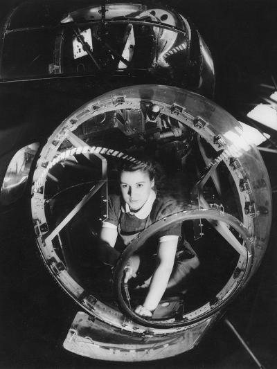 A Woman Working on a Lancaster Bomber, Second World War, 1940s--Photographic Print
