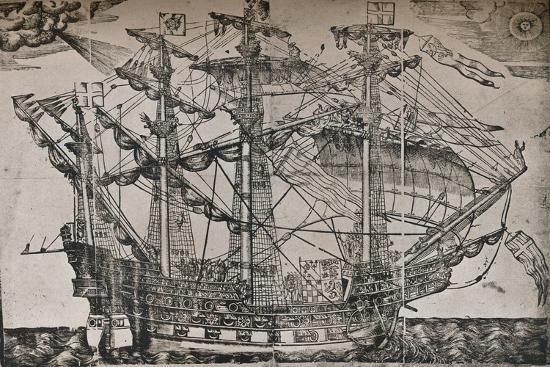 A woodcut of a ship which is believed to be The Ark Royal, c1587-Unknown-Giclee Print