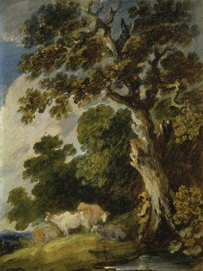 A Wooded Landscape with Cattle and Herdsmen-Gainsborough Dupont-Giclee Print
