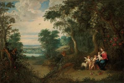 A Wooded Landscape with the Virgin and Child, Infant St. John the Baptist and an Angel-Jan Brueghel the Younger-Giclee Print