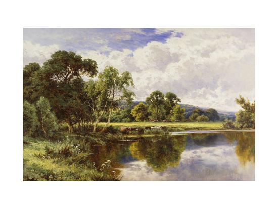 A Wooded River Landscape with Cattle-Henry H.		 Parker-Giclee Print
