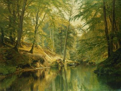 A Wooded River Landscape with Figures in a Boat, 1893-Christian Zacho-Giclee Print