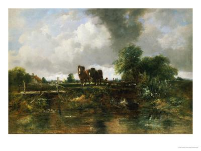 A Wooded River Landscape with Horses Working a Lock-Frederick Walters Watts-Giclee Print