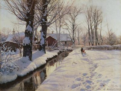 A Wooded Winter Landscape, Brondbyvester-Peder Mork Monsted-Giclee Print