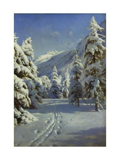 A Wooded Winter Landscape, Mortaratsch-Peder Mork Monsted-Giclee Print