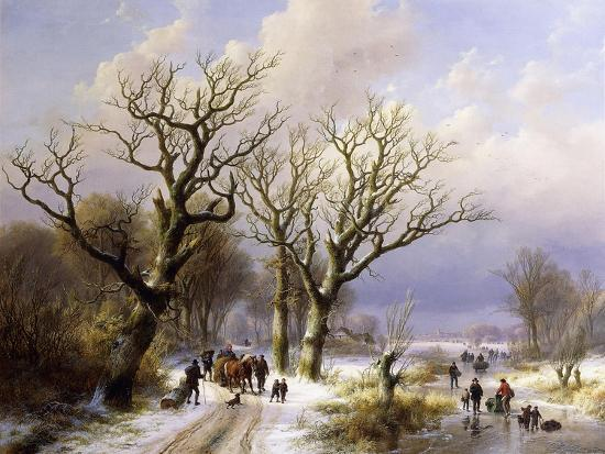 A Wooded Winter Landscape with Figures, 1863- E.J. Verboeckhoven and J.B. Klombeck-Giclee Print