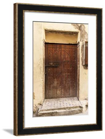 A Wooden Doorway in the Medina of Fez-Richard Nowitz-Framed Photographic Print