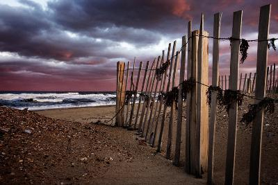 A Wooden Fence on a Sandy Beach on the Outer Banks of North Carolina-Chris Bickford-Photographic Print