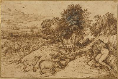 A Woody Landscape with a Nude Woman, Her Head Concealed by a Cloak-Titian (Tiziano Vecelli)-Giclee Print
