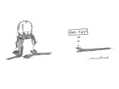 """A worm is approaching a can full of worms and  thinks to itself, """"Par-tay!"""" - New Yorker Cartoon-Michael Crawford-Premium Giclee Print"""