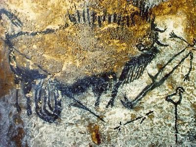 A Wounded Bison Attacking a Man, C.15,000-10,000 Bc--Giclee Print