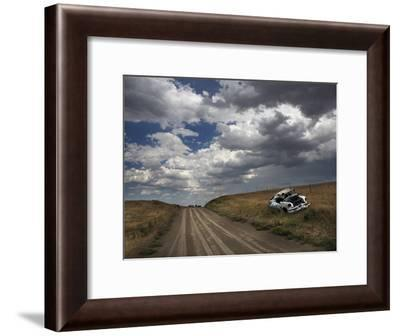 A Wrecked and Abandoned Car on the Side of a South Dakota Back Road-Aaron Huey-Framed Photographic Print