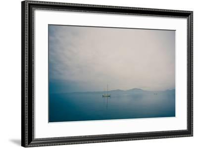 A Yacht Moored on Blue Water-Clive Nolan-Framed Photographic Print