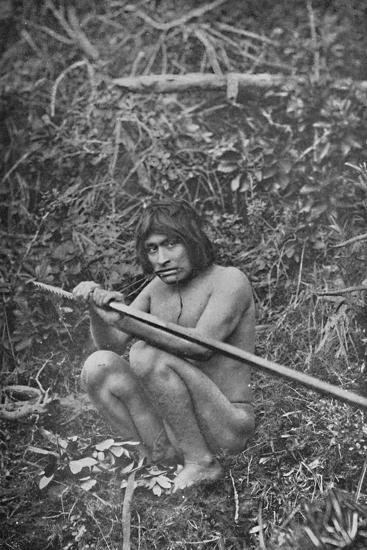'A Yaghan Attaching The Head of His Harpoon to the Shaft', 1911-Unknown-Photographic Print