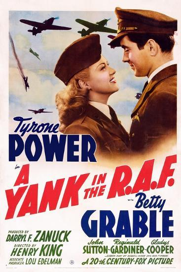 A Yank in the R.A.F., L-R: Betty Grable, Tyrone Power, 1941--Art Print