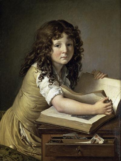 A Young Child Looking at Figures in a Book-Anne-Louis Girodet de Roussy-Trioson-Giclee Print