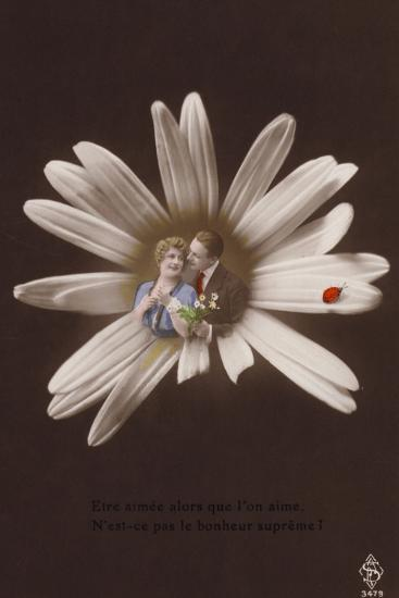A Young Couple in the Centre of a Flower with Ladybird--Photographic Print