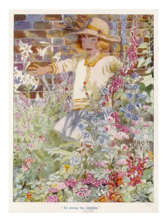 A Young Girl Among a Mass of Flowers Growing in a Garden--Giclee Print