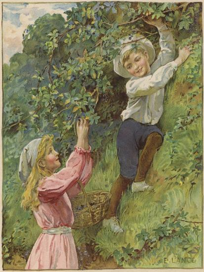 A Young Girl and a Young Boy Picking Blackberries-Eveline Lance-Giclee Print