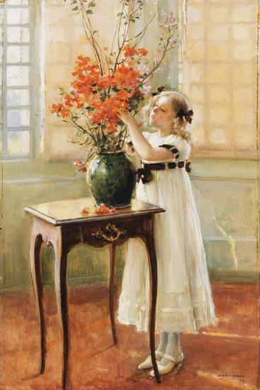 A Young Girl Arranging Spring Flowers, 1909-Jules Alexis Muenier-Giclee Print