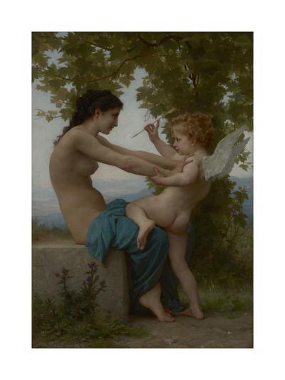A Young Girl Defending Herself against Eros, c.1880-William-Adolphe Bouguereau-Giclee Print