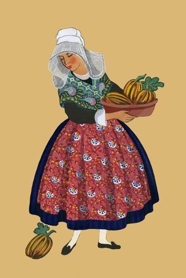 A Young Girl from Champagne Carries Gourds-Elizabeth Whitney Moffat-Art Print