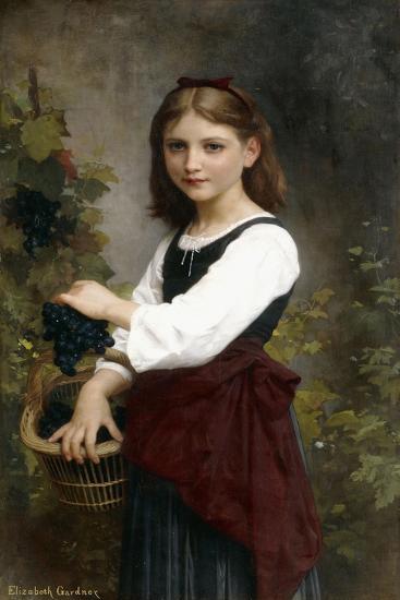 A Young Girl Holding a Basket of Grapes-Elizabeth Jane Gardner Bouguereau-Giclee Print