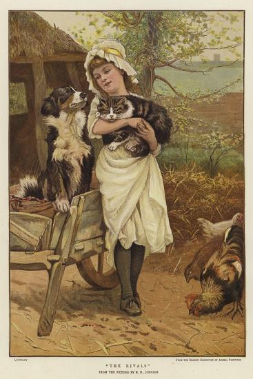 A Young Girl Holding a Cat in Her Arms Alongside a Dog-Edward Killingworth Johnson-Giclee Print