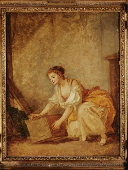 A Young Girl Lifting a Chest-Jean-Baptiste Greuze-Giclee Print