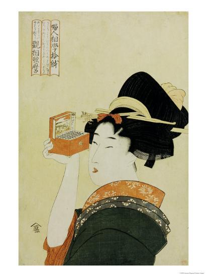 A Young Girl Looking Through a Nozoki Megane, Magic Lantern-Kitagawa Utamaro-Giclee Print